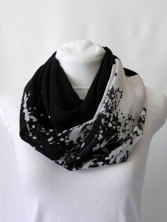 Black and White Paint Splat Infinity Scarf/ Chiffon Lightweight Scarf/ Fall Scarf/ Sheer Scarf/ loop Scarf/ Accessory/ Women's Scarf/ Zaleon