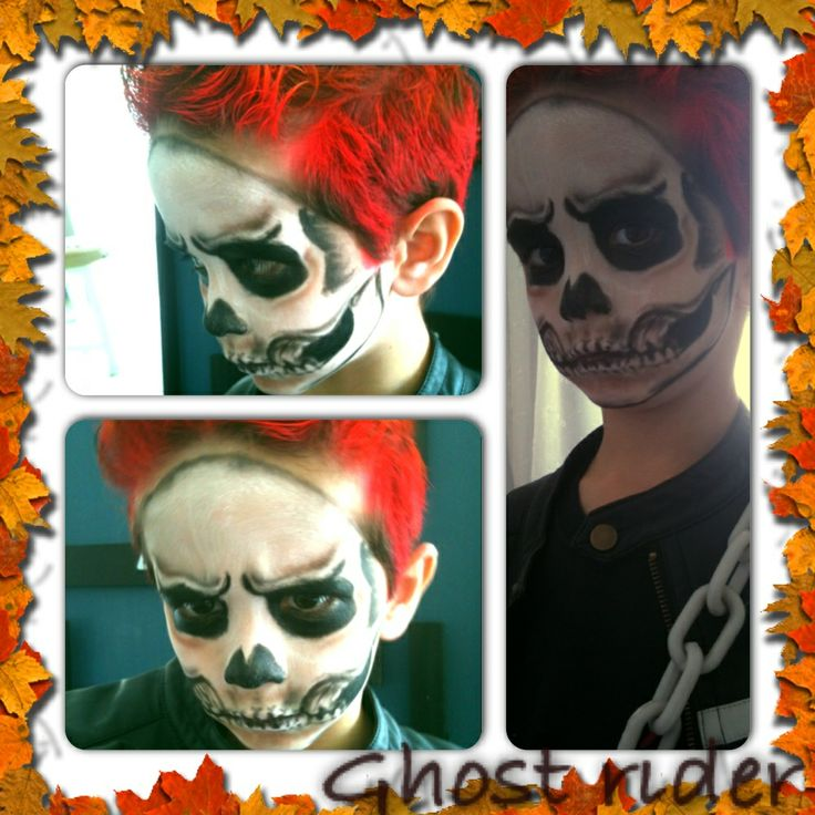 Halloween ghost rider makeup ... Easy costume and make for kids!!! Super cool! Everybody loved