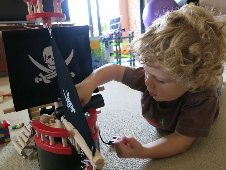 """Jane says: """"Nate (2.5 years) adores the pirate ship and loves coming to Auntie's house to play with it. He's great at imaginative play, and it's been exciting to see Nate totally 'get' every feature of this toy. He tells all sorts of big stories, has crashes, brings in other boat toys... he loves to lie on the floor and sail it around on the carpet. It makes me so happy to watch him play with the pirate ship!"""" #letoyvan #pirate #pirateship"""