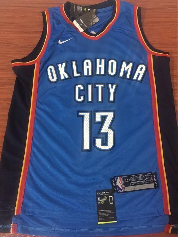 65b688d1e15 Men OKC 13 Paul George Jersey Blue Oklahoma City Thunder Swingman Fanatics