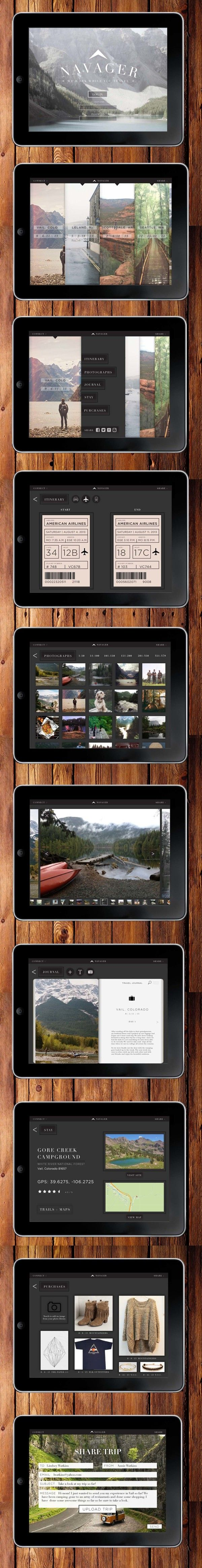 N A V A G E R travel app | Designer: Alex Milbourn - on App Design Served #ipadapp #journal