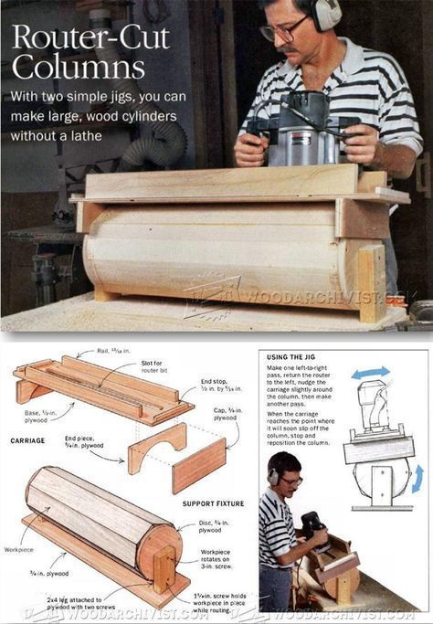 Router Cut Columns - Woodworking Tips and Techniques | WoodArchivist.com #woodworkingtips #RouterWoodworkingProjects