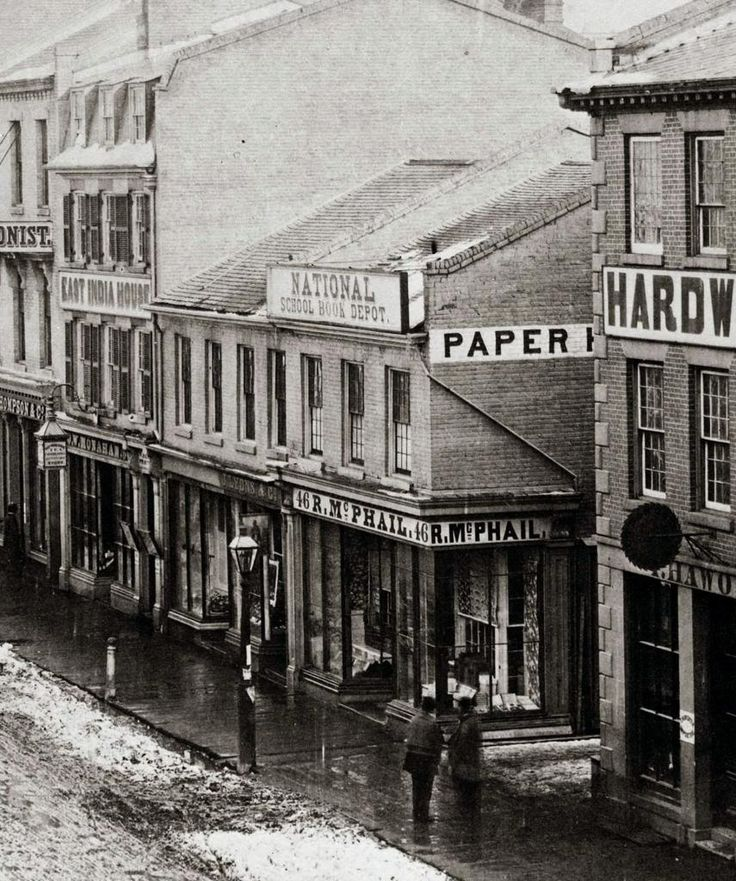 'King Street and Leader Lane. Leader Lane on the right. 1856