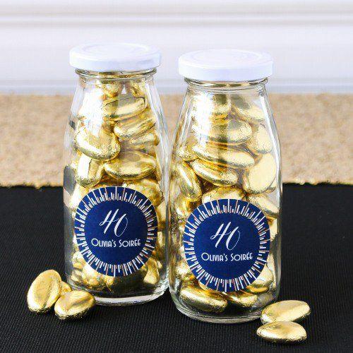 Personalized Milestone Birthday Milk Jars and Straws by Beau-coup