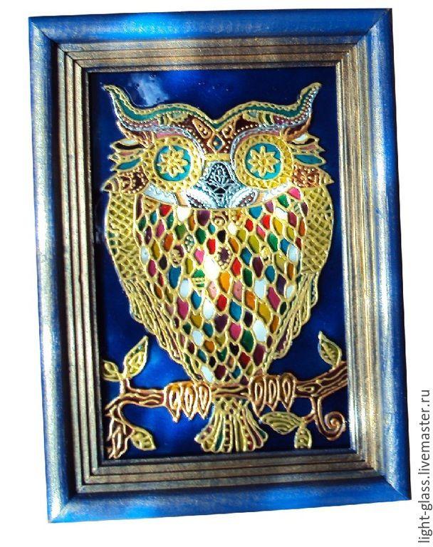 Купить Картинка витражная совунья - витражная картинка, картинка в рамке, настольная картинка, Роспись по стеклу