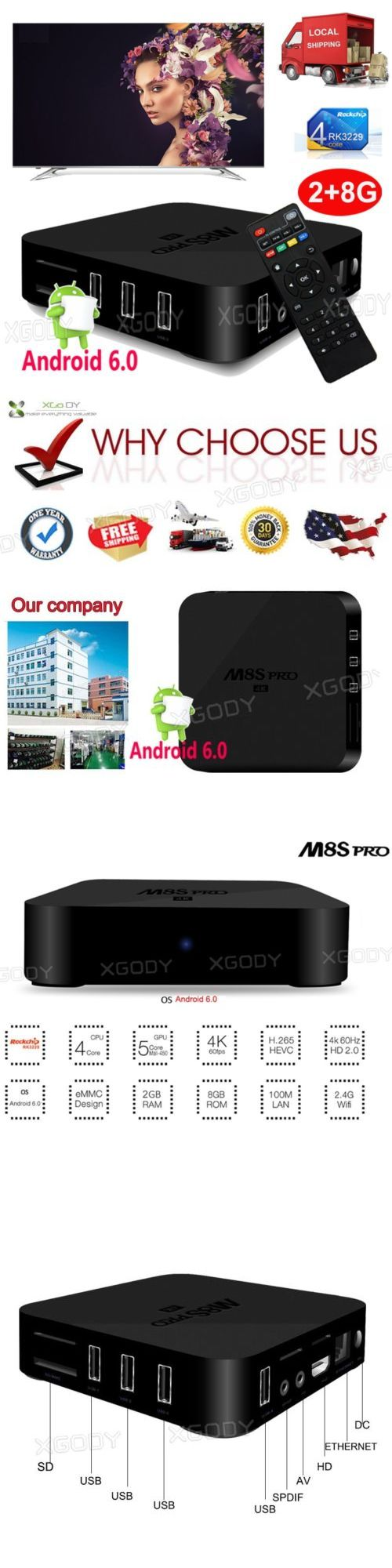 Internet and Media Streamers: Xgody 2Gb 8Gb Quad Core Android 6.0 M8s Pro New Tv Box Wifi 4K Movies Hdmi Wifi -> BUY IT NOW ONLY: $37.94 on eBay!