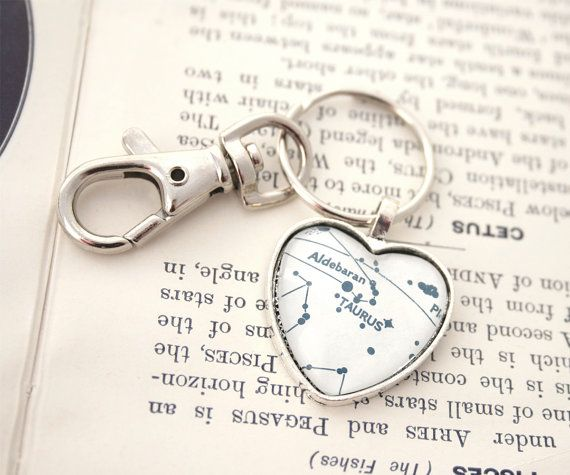 Heart Personalised Key Chains with custom star constellation