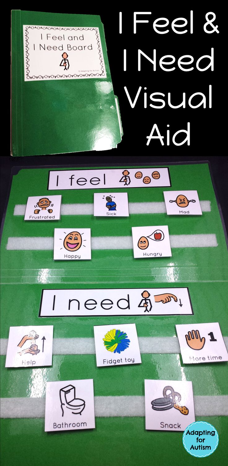 """This I Feel and I Need file folder visual aid is a simple resource to keep handy. Providing a student with a visual support may allow him to express his needs without having to find the words. Even verbal students can have trouble retrieving the words or articulating what they need. Offering this simple visual can aid a student in saying """"I feel confused. I need help"""" or """"I feel frustrated. I need a break."""""""