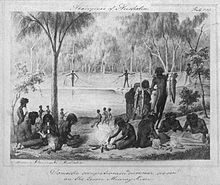 William Blandowski's 1857 depiction of Jarijari (Nyeri Nyeri) people including men hunting, women cooking and children playing near Merbein, Victoria. A form of kick and catch football is apparently being played in the background