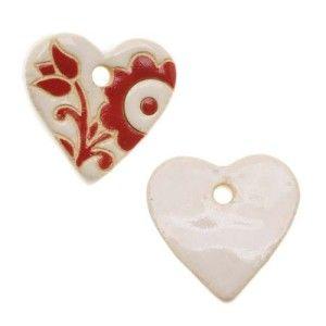 Golem Design Studio Ceramic Pendant, 24x25mm Glazed Heart Shape With Flowers, 1 Piece, Red