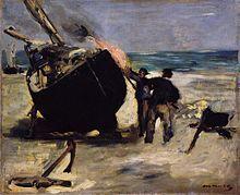 """""""Le Goudronnage du Bateau"""", Edouard Manet, Berck, 1873"""