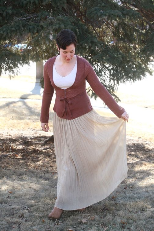 Belted cardi, oatmeal tee, pleated maxi, boots
