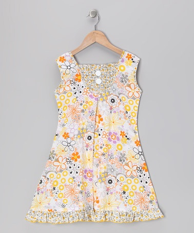 Take a look at this Yellow Floral Shirred Sundress - Infant, Toddler & Girls by Vintage Circus on #zulily today!