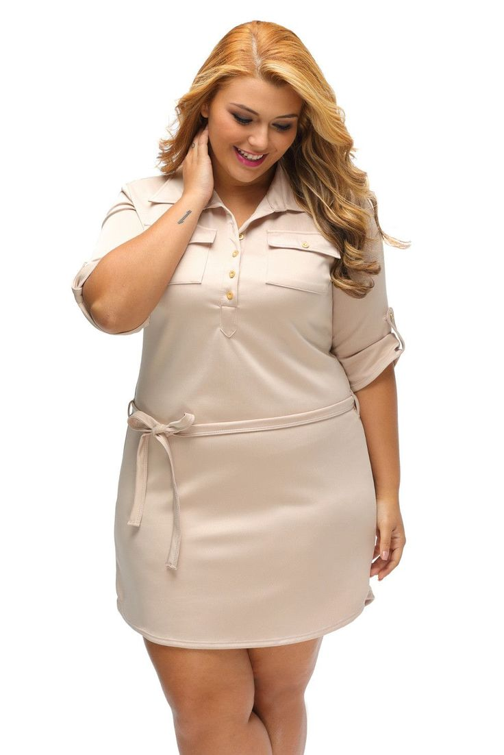 Robes Chemise Grandes Tailles Texture Kaki Ceinturee Pas Cher www.modebuy.com @Modebuy #Modebuy #Abricot #style #femme #mode