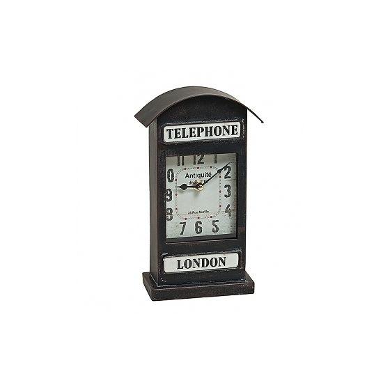 Zwarte dressoir klok London 25 cm  Staande tafel of bureau klok van London Telephone. Formaat: 25 x 14 cm. Materiaal: metaal. Werkt op 1 x AA batterij (niet inbegrepen).  EUR 18.95  Meer informatie