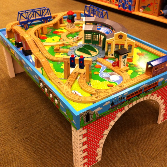 this Thomas the Train table top would look better at home instead of at Barnes & Noble!