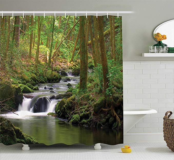 Ambesonne Nature Shower Curtain Green Decor Waterfall And Stream Flowing In The Forest Over Mossy Rocks Tree Foliage Splash Hiking Bathroom Shower Curtain Sets