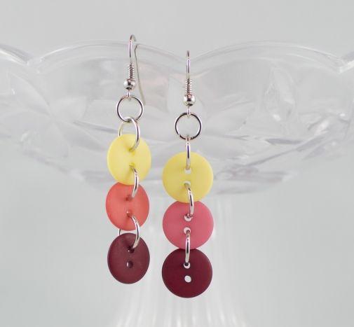 Yellow salmon burgundy dangling button earrings warm tropical