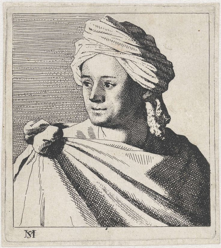 Michael Sweerts | Buste van een jongeman met tulband, Michael Sweerts, 1656 | Portret van een jongeman, gekleed in een losse schoudermantel, die vastgeknoopt is op zijn schouder. Hij draagt een tulband op het hoofd. Maakt deel uit van een serie van 12 prenten met studies van gezichten.