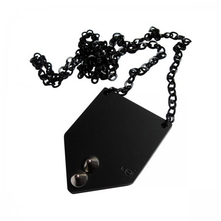 Long necklace with pendant in black satined acrylic glass made with laser cut technique, has 2 cone studs.  Aluminium chain.