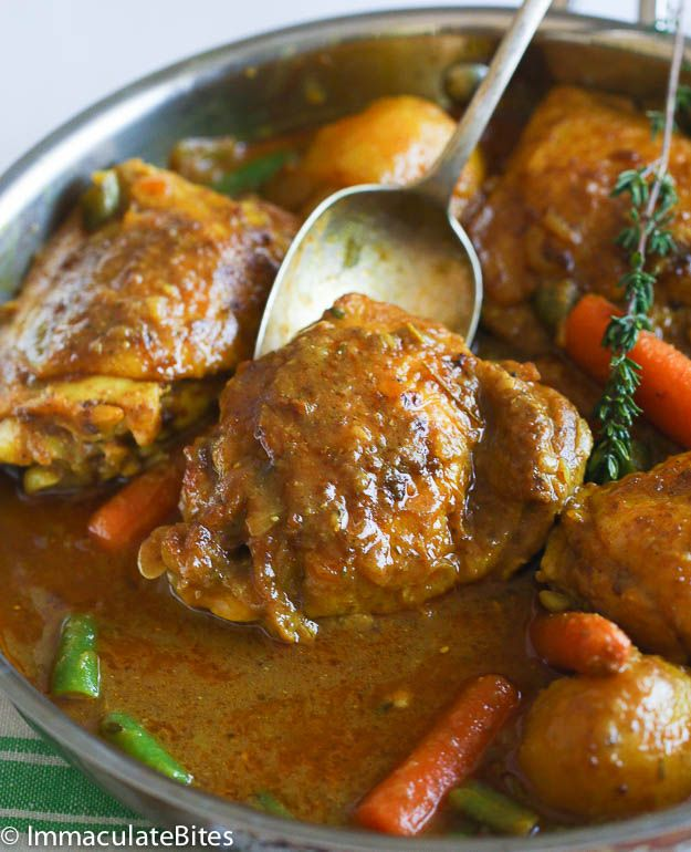 Slow cooker Jamaican curry chicken | 3 - 3 ½ pound chicken thighs 1 teaspoon or more curry spice Salt and pepper ¼ cup cooking oil 1 onion sliced 1 scotch bonnet pepper 1 Tablespoon minced garlic 1½ -2 Tablespoons Curry Powder 1 Tablespoon tomato paste 1-cup coconut milk ½ cup chicken broth or water ½-1 teaspoon paprika 2-3 sprigs thyme 1-pound potatoes  1-pound carrots and green beans  1 bay leaf 1 teaspoon chicken bouillon