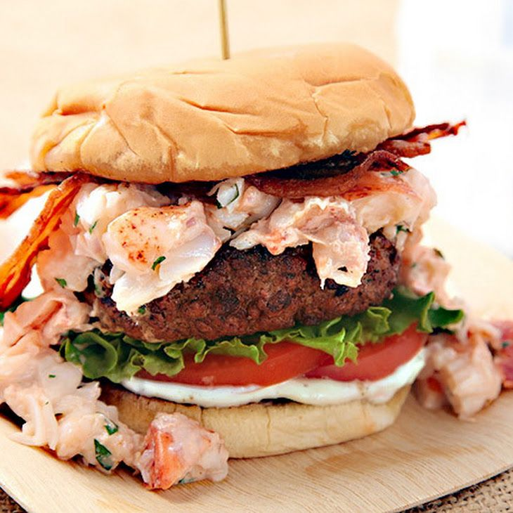 Surf N' Turf Burger (Grilled Burger with Lobster and Bacon) Recipe   KING OF ALL BURGERS!!!