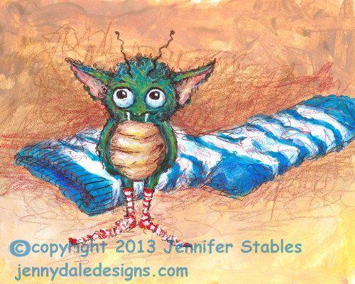 Whimsical Monster Art- The Stinky Sock Monster: hand signed art print on Etsy, $23.00 CAD