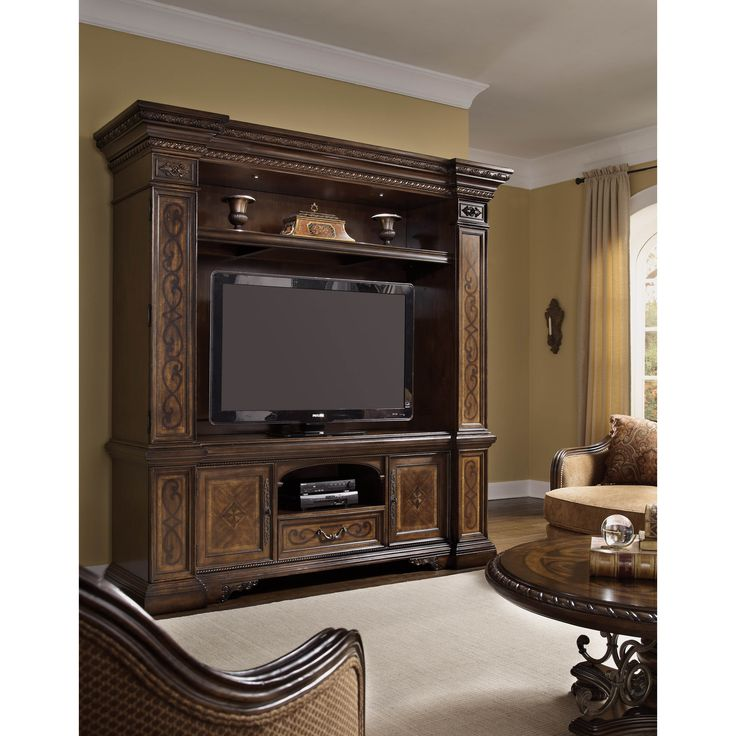 This remarkable entertainment center from the Valencia collection is the perfect representation of old Mediterranean style and modern design. It accommodates most 70 inch flat-panel televisions and has ample media storage.