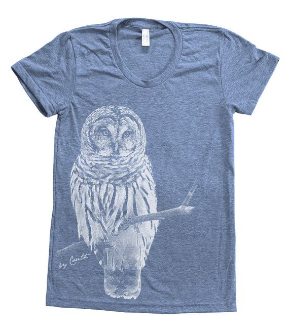 Owl Shirt Women Custom Hand Screen Printed on by Couthclothing, $20.00