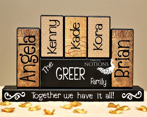 Family Members Name Wood Blocks #HEPteam