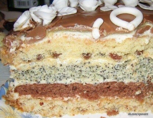 Торт проще простого  Коржей всего четыре: с изюмом, какао, маком, орехами  Ингредиенты:  для одного коржа:  1 яйцо 1 ч. ложка крахмала 0,5 ч. ложки соды или разрыхлителя 0,5 стакана сахара 0,5 стакана сметаны 0,5 стакана муки  Приготовление:  Всё смешать и добавить в один корж изюм, в один корж какао, в один корж мак, в один корж орехи по вкусу.  Крем: взбить 600 г. сметаны (или сливок) с 3 столовыми ложками сахара, пакетиком ванильного сахара и закрепителем для сливок. Украсить шоколадной…