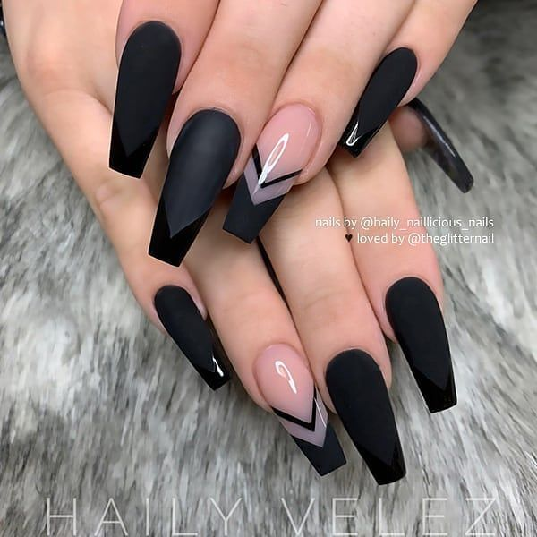 Behindthechair Com On Instagram Black V French With Chevron Accent On Long Coffin Nails By Hai Best Acrylic Nails Coffin Nails Long Swag Nails