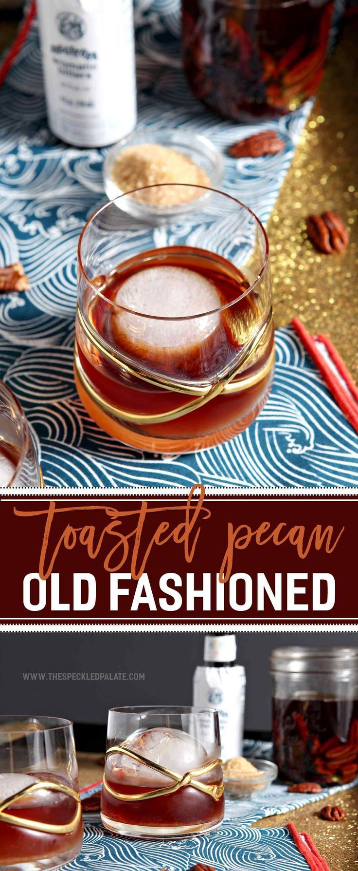 A seasonal twist on the classic whiskey cocktail, the Toasted Pecan Old Fashioned is a perfect cocktail for a chilly winter night. Toasted pecans soak in whiskey for days before the infused alcohol is poured atop a sugar and bitter mixture to make an Old Fashioned.