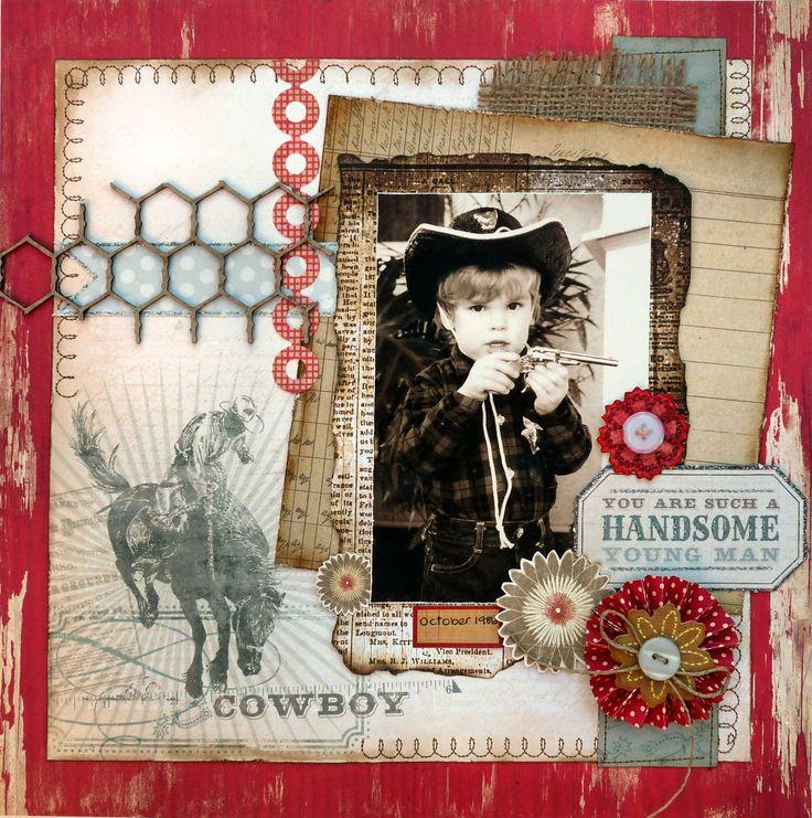 scrapbook layout using MME Cowboy paper