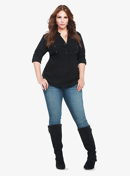 Mandarin Collar Peplum Military Top | Torrid