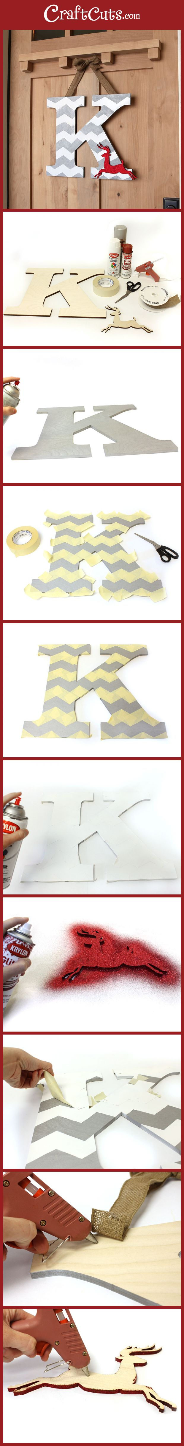 Chevron Deer Monogram Wreath | CraftCuts.com
