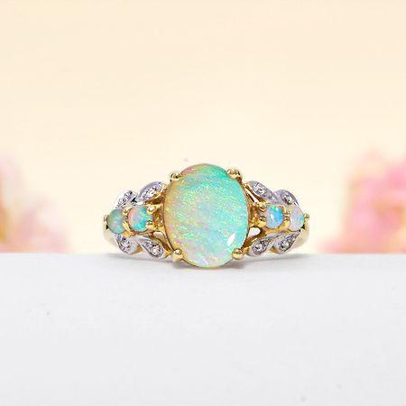 14k Yellow Gold Diamond, Rainbow Fire Solid Australian Crystal Opal Ring
