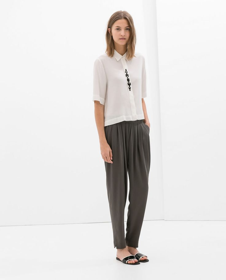 ZARA - COLLECTION AW14 - FRONT PLEATED SILK TROUSERS    love this