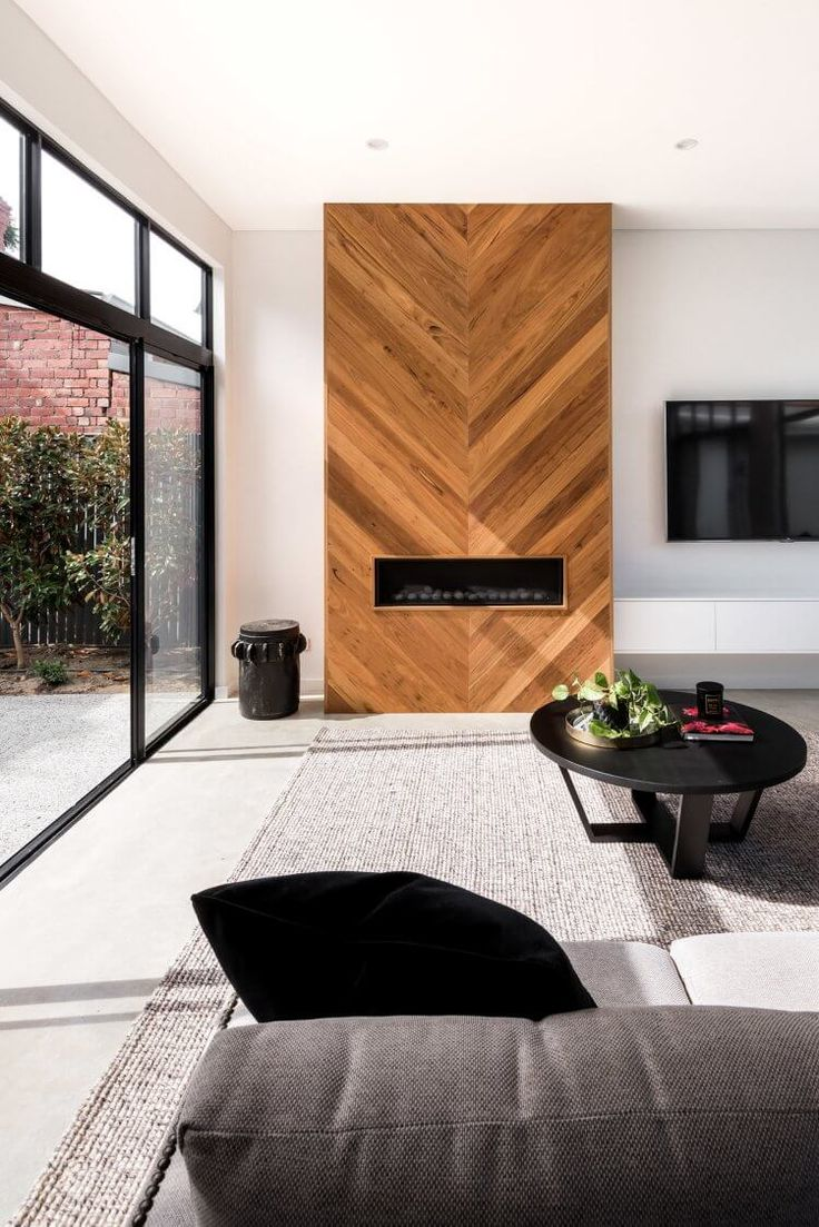 Wood look tile for behind the fireplace
