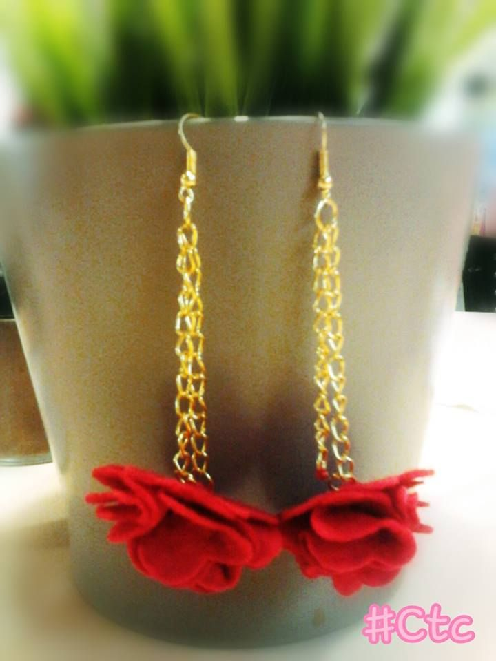 beautiful gold earrings with red flowers... 3$ #ctc #collection #earring #gold #red