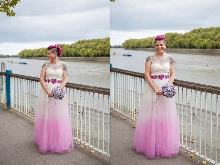 tattooed bride with pink hair | Putney Wedding photographer | Pink wedding dress | bridal cat ears