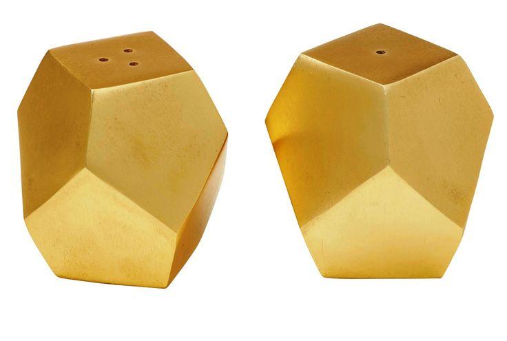 NEW AMALFI GEO SALT AND PEPPER SHAKER SET Shakers GOLD OR COPPER TONE