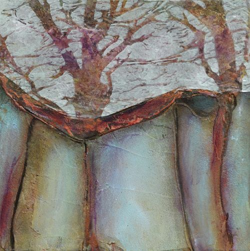 "Daily Painters Abstract Gallery: Abstract Contemporary Mixed Media Art Painting ""Sacred Trees"" by Santa Fe Contemporary Artist Sandra Duran Wilson"