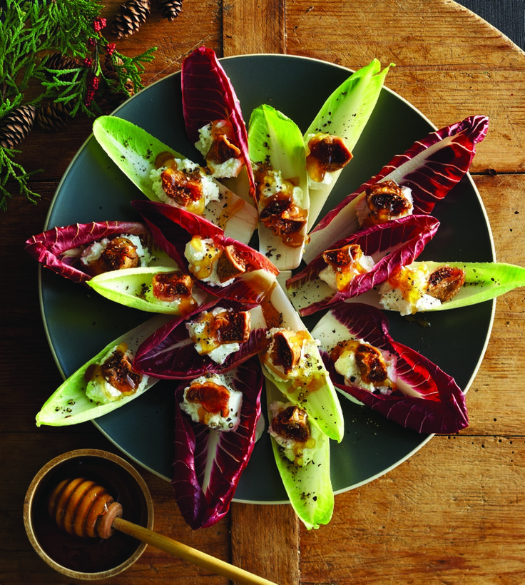 Endive Bites with Goat Cheese, Figs & Honey!  When guests are coming, it's always helpful to have a quick, no-cook appetizer on the menu. These fresh, crisp endive leaves with creamy goat cheese and sweet honey are a cinch to put together, and will please even the pickiest guest.