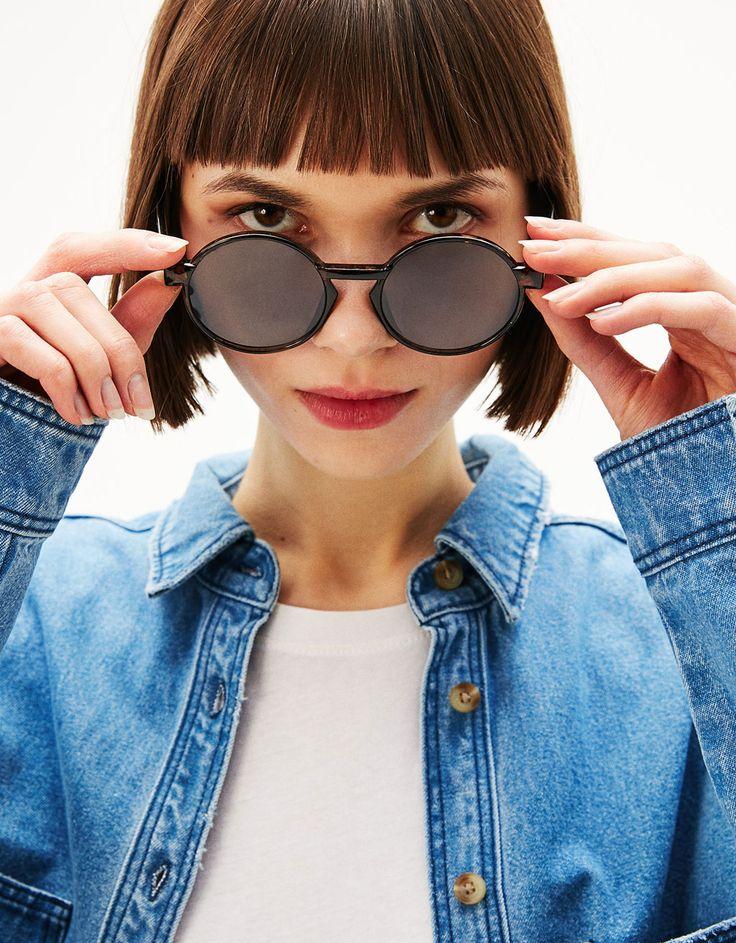 Okrągłe okulary przeciwsłoneczne - AKCESORIA - Bershka Poland