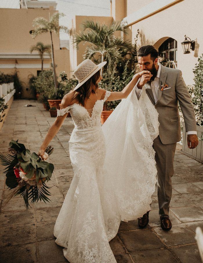 This Tropical Glam Old San Juan Wedding Inspiration Took Cues From The Vibrant Puerto Rican City Junebug Weddings Tropical Wedding Dresses Destination Wedding Dress Wedding Inspiration Summer