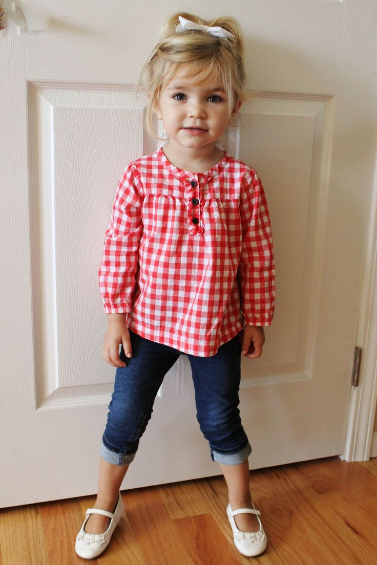 Carter's Red & White Checkered Shirt.  The Children's Place Jeggings.  Payless Smartfit White Mary Jane Shoes. Baby Toddler Style Fashion