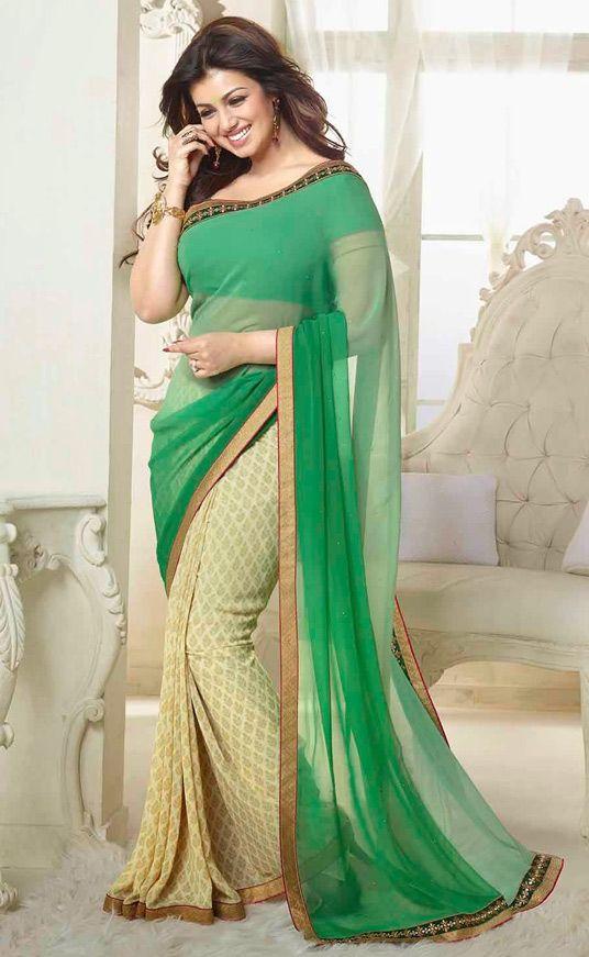 USD 25.45 Ayesha Takia Sea Green Georgette Party Wear Saree 44551