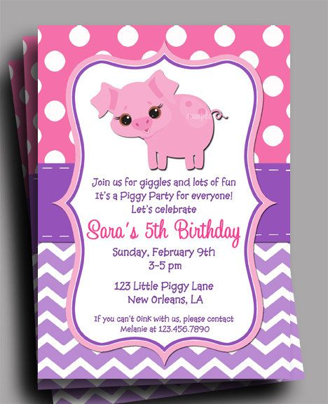 Pig Invitation Printable  Birthday Baby Shower  by ThatPartyChick, $15.00