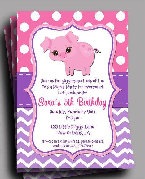 Pig Invitation Printable  Birthday Baby Shower  by ThatPartyChick, $15.00